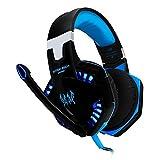 kotion je G2000Over-Ear-Lautstärkeregler Mikrofon Headset Stereo Kopfhörer Blendfreies Licht mit LED-Lichter Professionelles Gaming Kopfhörer für Computer Laptop blau blau