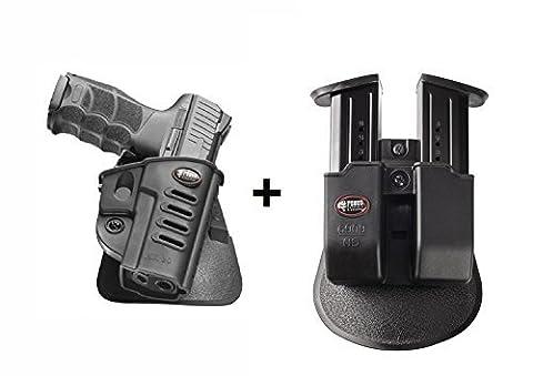 Fobus LINKE HAND verdeckte Trage Sicherungs-Pistolenhalfter Halfter Holster + 6909ND Doppel magazintasche für Heckler und Koch H&K P30, P30 SK / Walther PPQ