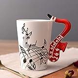 Silverdrew Tazas de cerámica pintadas a mano Notas Tazas musicales Tazas de música Regalos de tazas de café...