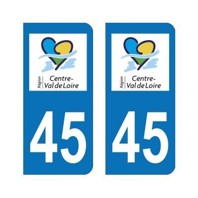 Zone-Stickers 2 Autocollants Plaque Immatriculation 45 Centre-Val de Loire Loiret - Arrondis