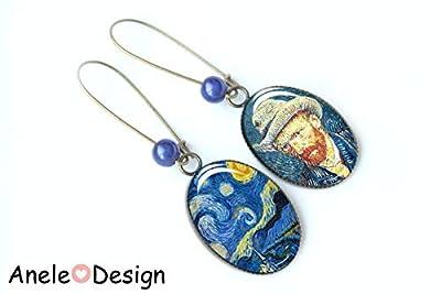Boucles d'oreilles art Van Gogh nuit étoilée et autoportrait, peinture tableau impressionniste art nuit bleu beige, cabochons