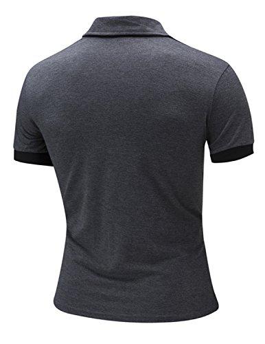 LAINIHK Polo Herren Kontrastfarben Kurzarm Beiläufig Slim Fit Poloshirt Grau 1