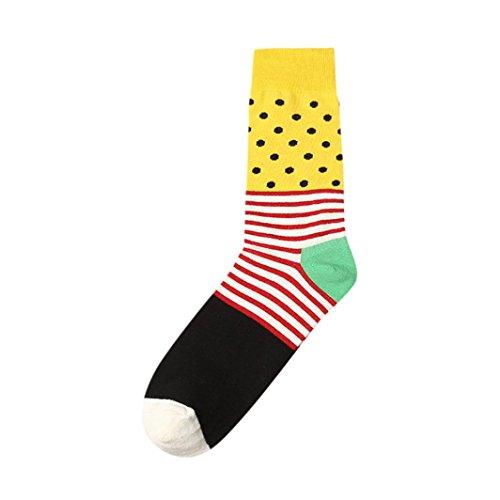 Sansee Neue Mode Mann Herren Männer Jungen Streifen Print Farbe Block Cotton Sock Bunte Casual Socke Sneakersocken Sportsocken Baumwollsocke (B, Länge: Etwa 40 cm)