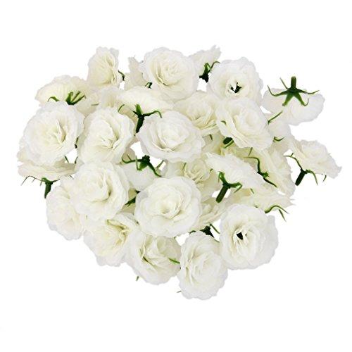 50pcs Kunstseide Kunstblumen Rose bluete koepfe Hochzeit Partydekor Creme Bulk (Bulk Rose Künstliche)