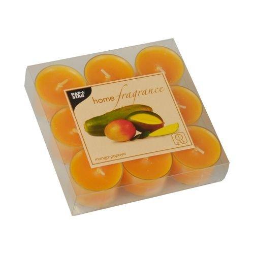 Mango-papaya-duft (9 Duftlichte Ø 38 mm, 25 mm orange - Mango-Papaya in Polycarbonathülle 83191 Papstar Teelichter Duftbrenner)