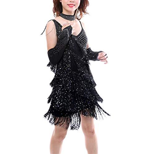 Kostüm Lyrische Kinder - KRUIHAN Latein Tanzen Kleids Quaste Pailletten - Frauen Bühnen Performance Leibchen Kostüm Tanzbekleidung Kleidung Handschuh Halsreif Tango Rumba (Schwarz)