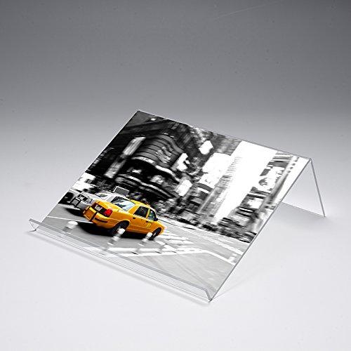 Buchstütze mit Motivdruck 'New York Taxi' | Buchständer | iPad-Stütze | Warenstütze | Acrylhalter | Warenträger aus Acrylglas | Werbeaufsteller, Größe:30x25x12 cm
