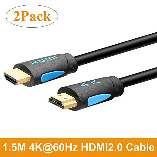 TESmart 1.5M High Speed with Ethernet 4K@60Hz 4:4:4 HDMI Cables, Premium HDMI Cord Type, Supports HDMI 2.0b 4K 60Hz HDR (Pack of 2) Premium Cord