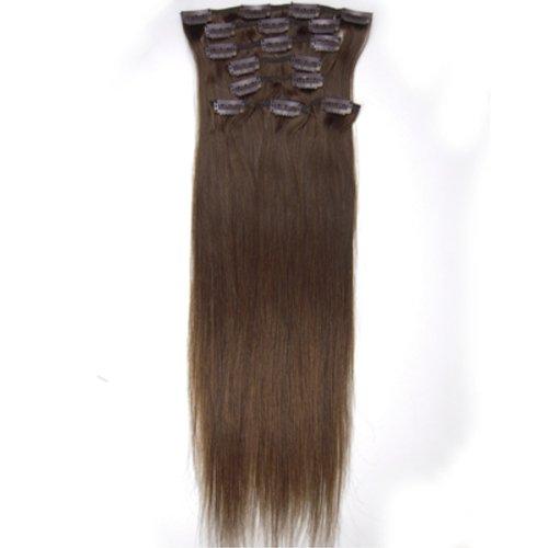 100% cheveux remy Lot de 8 50,8 cm Brun moyen (# 04) droite cheveux clip dans Extension de cheveux Poids : 100 g