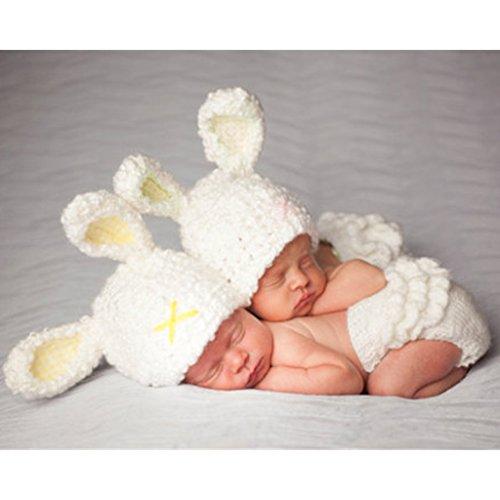 Kostüm Muster Kaninchen - Xurgm Kinder Baby Strick Mütze Fotoshooting Kaninchen Neugeborene Muster Design Hut Kostüm Hüte-0-6 Monate