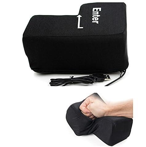 Big Touche entrée USB Oreiller, Pak _ Youth anti Stress relief Super Taille incassable Touche entrée, noir, 140x200mm