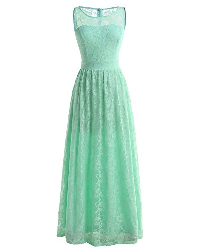 Wedtrend Frauen Spitzen lange Brautjungfer Kleid Party Kleid Cocktailkleid WTL10007 Mint L