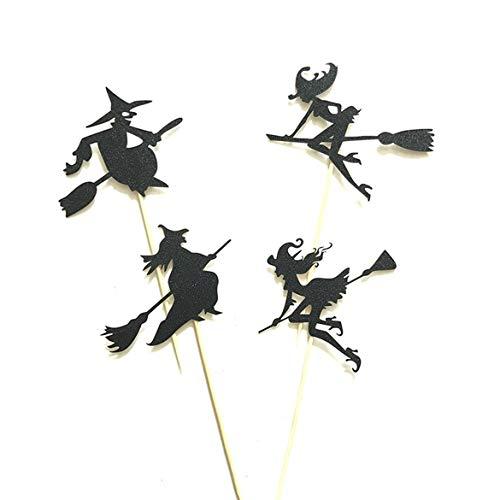 4pcs Halloween-Hexe-Kuchen-Deckel Halloween Cupcakes Flaggen (Schwarz)