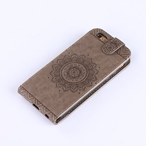 Custodia iPhone SE / 5S / 5, iPhone SE / 5S / 5 Cover, ikasus® iPhone SE / 5S / 5 Custodia Cover [PU Leather] [Shock-Absorption] Protettiva Portafoglio Cover Custodia sole indiano Datura fiori Modello Grigio