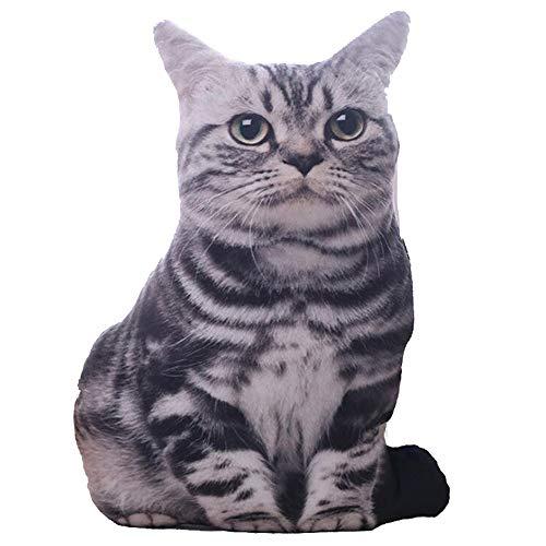 GFEU gefülltes 3D-Simulationskissen in Katzenform, lustige Katzenkissen, Dekoration für Zuhause, Bett, Wohnzimmer, Büro, Plüsch, Tiger Line, Cat