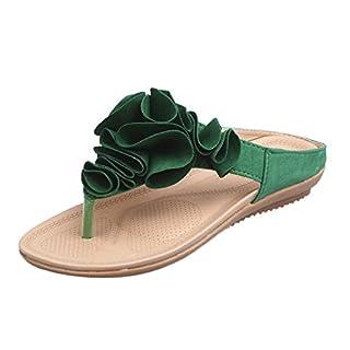 MRULIC Damen Zehentrenner Sommer Strand Flip Flops Lässige Flache Hausschuhe Schuhe Pretty Floral Sandalen Home Slippers