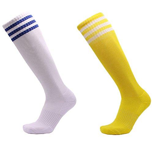 YUTUTU Unisex-Knie-hohe dreifache Streifen-athletische Fußball-Sport-Schlauch-Socken 2 Satz, 6 Satz (Hoch Dünne Knie)
