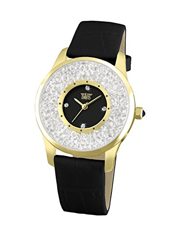 Davis 1788 - Womens Crystal Watch Yellow Gold Case Clear Swarovski Rhinestone Strass Black Dial Black Leather Strap