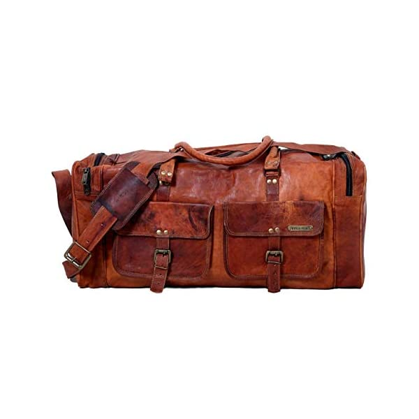 24 Inches Handmade Genuine Vintage Leather Large Travelling Duffel Weekend Bag 41A uLgtWSL