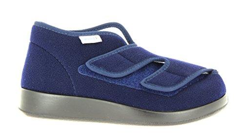 Varomed Genua-F 60920-25F Unisex-Erwachsene Damen Herren Hausschuhe, Therapieschuhe, Verbandschuhe mit extra Weichschaumfussbett Marine, EU 39