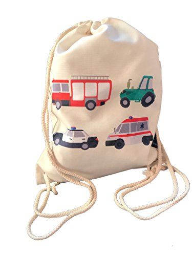 Kinder Turnbeutel für Jungen Jungs | beidseitig mit 4 Fahrzeugen bedruckt | für Kindergarten, Krippe, Reise, Sport | geeignet als Gymsack, Rucksack, Spieltasche, Sportbeutel, Schuhbeutel - von HECKBO (Adidas Krippe)