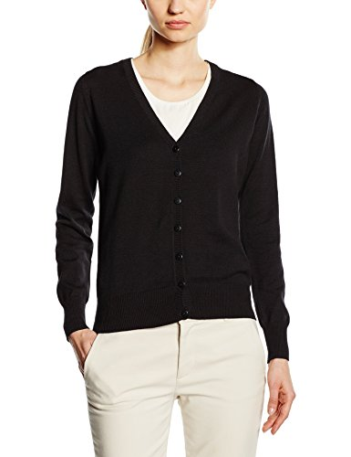 Premier Workwear Ladies Button Through Knitted Cardigan, Gilet Femme Black