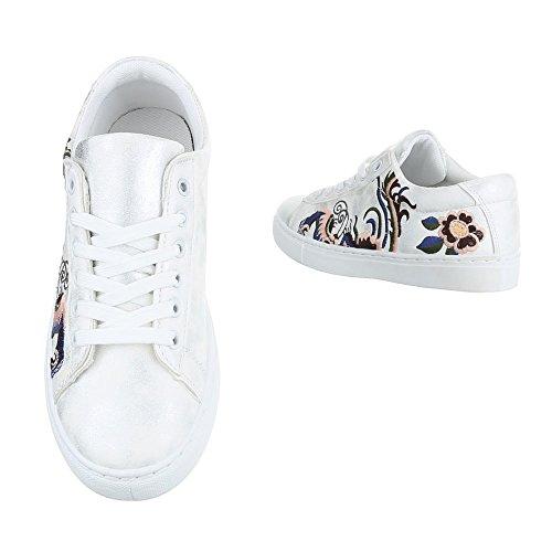 Ital-Design Sneakers Low Damenschuhe Sneakers Low Sneakers Schnürsenkel Freizeitschuhe Weiß FC-S31