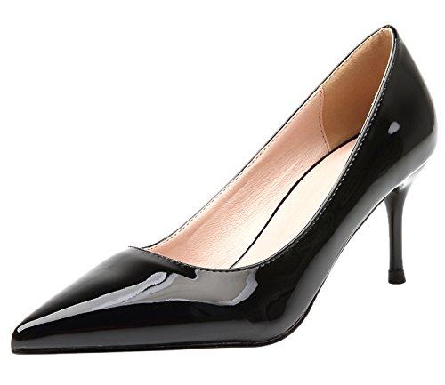 BIGTREE Damen Pumps Slip On Reine Farbe Spitze Zehen Schwarz Büro High Heels Schuhe von 40 EU (Heel-schuhe Marine-blau-high)