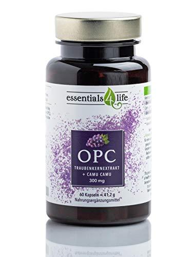 Essentials4Life reines OPC Traubenkernextrakt hochdosiert vegan mit natürlichem Vitamin C aus Camu Camu-Extrakt I je Kapsel 300mg OPC I Nahrungsergänzung Resveratrol I 60 OPC Kapseln für 2 Monate