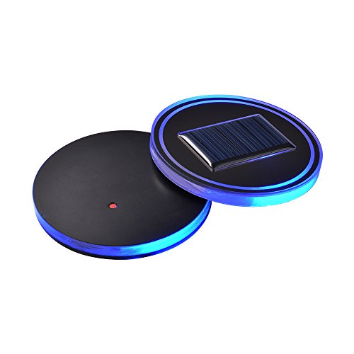 XCSOURCE® 2stk Solar angetriebene LED Untersetzer Acryl Schalen Halter Auflage, blaue LED Anzeigen Unterseite für Schalen Getränk Wein Flasche LD1095