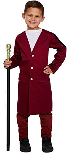 Kinder Jungen Willy Wonka Buch Tag Woche Charakter Fancy Kleid Kostüm Outfit 4-12Jahre - Rot - Rot, 4-6 ()