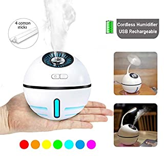 Cordless Rechargeable Cool Mist Humidifier Travel Air Humidifier USB Portable Mini Humidifiers Auto Shut-Off 7 Color LED Lights for Office Bedroom Home Study Yoga Spa Baby - Lasts Up to 12 Hours