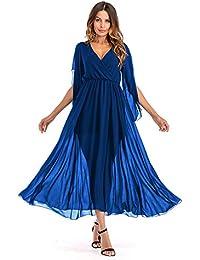 Mujer Vestido De Gasa De Color Cólido 3/4 Vestido De Noche Flojo Para Cóctel