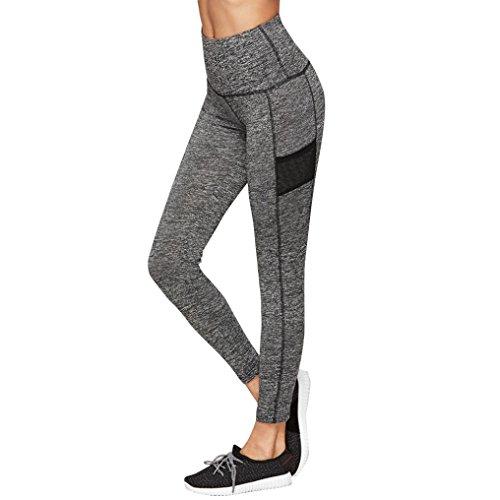 Yoga Hosen Damen, DoraMe Frauen Patch Yoga Leggings Training Mesh Hose Sport Fitness Sportliche Kleidung (L, Schwarz)