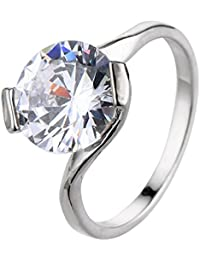 La Vogue Bague Solitaire Unique Oxyde De Zirconium Fiançailles Alliance Mariage Anneau Femme Cristal 9#