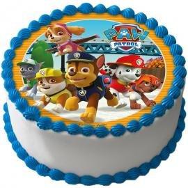 Disco Pasta di zucchero PAW PATROL - decorazione per torte e dolci con i cagnolini Chase, Marshall, Rocky, Zuma, Rubble e Skye - diametro 21 CM