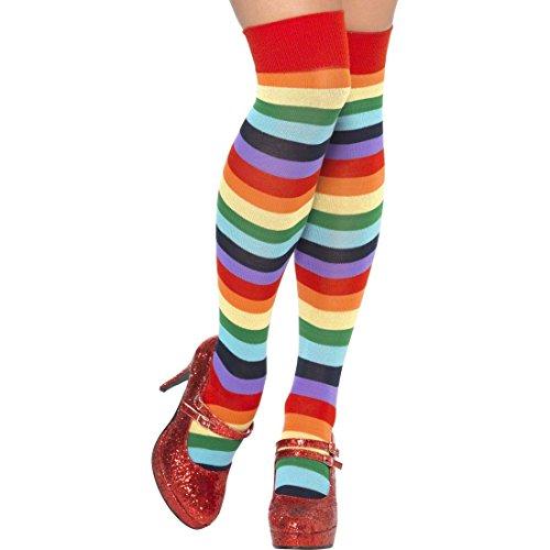 Regenbogen Kniestrümpfe Clown Strümpfe gestreift Ringelstrümpfe Overknees bunt Ringelkniestrümpfe Clownskostüm Zubehör