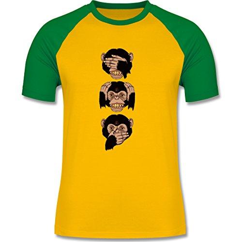 Statement Shirts - Drei Affen - Sanzaru - zweifarbiges Baseballshirt für Männer Gelb/Grün