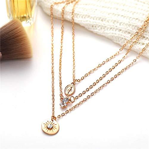 TLLAMG Halskette Böhmische Mehrschichtige Goldketten Choker Halskette Frauen Kristall Sonnenmünze Anhänger Rosenkranz Halskette Schmuck