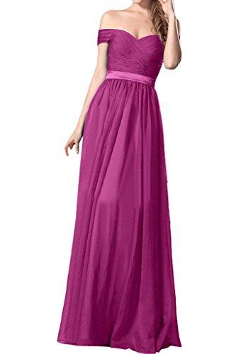 ivyd ressing ab-Facile da donna dalla spalla A-line di chiffon Party Festa Prom abito abito sera vestito Fuchsie