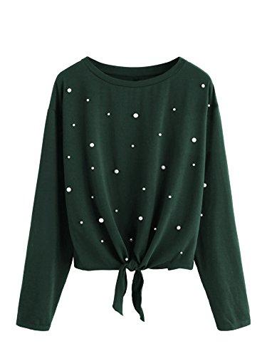 DIDK Damen Pulli Langarmshirts Rundhals T-Shirt Oberteile Pullover mit Perlen und Knoten Grün S