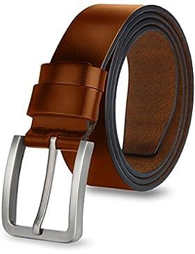 MPTECK @ Cinturón Hombre Cuero Marrón Claro 120cm Correa Cinturones Diseñado para caballero hombres Adulto cintura...