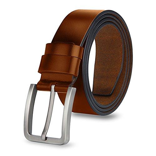 MPTECK @ Gürtel Hellbraun braun Herren Leder 120CM Ledergürtel Gürtel für Herren verstellbarer mit Edel Dornschließe Geschäft Anzug Beiläufige Freizeitkleidung mit Geschenkbox