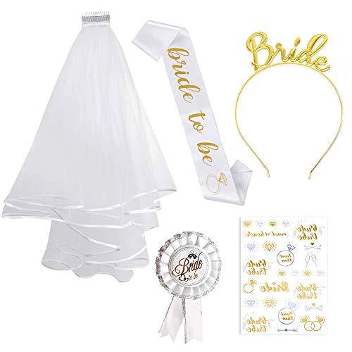 Gold JGA deko Accessoires Schärpe weißer Schleier mit Kamm Krone Haarreif Tattoos für Den Junggesellinnenabschied Party ()