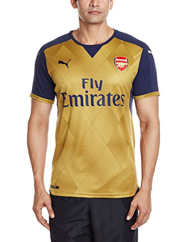 Puma Herren Trikot AFC Alternate Replica Shirt with Sponsor Logo, Black Iris/Victory Gold, M, 747568 08 (Gold Classic Logo T-shirt)