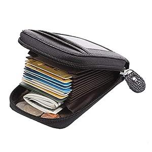 ManChDa Kartenhalter Schwarz Echtes Leder Geldbörse RFID-Blockierung Kreditkarteninhaber Visitenkarten Fall Führerschein + Geschenkbox