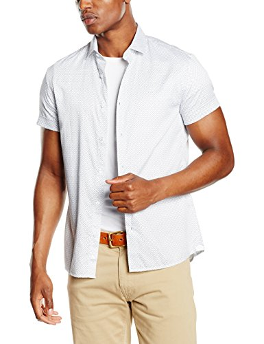 Celio - Chemise casual - Taille normale - Col classique - Manches courtes - Homme Blanc