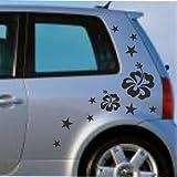 malango® Autoaufkleber Sterne Blumen Sticker Auto Aufkleber Design Tuning Szene Styling Flower Stars Siehe Beschreibung pink pink Siehe Beschreibung