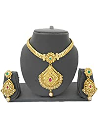 My Design Multicolor Bridal Gold Plated Dulhan Necklace Set With Earrings