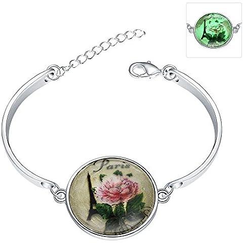 Nuevo diseño de vendimia de la joyería de plata plateado resplandor en el oscuro vidrio torre de Eiffel de cabujón hecho a mano flor romántica paz vista señora pulsera de las